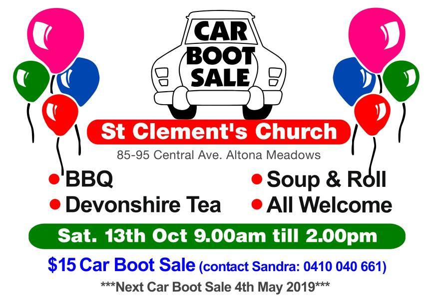 Car boot sale Oct 18