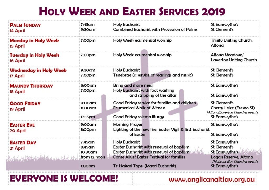 Holy Week & Easter services 2019